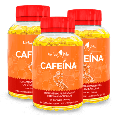 Cafeína (American Pharm). Kit com 03 Frascos
