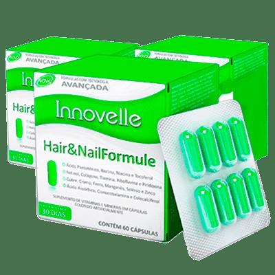 Innovelle Hair and Nail Formule (Saúde das Unhas e Cabelos). Kit com 3 caixas